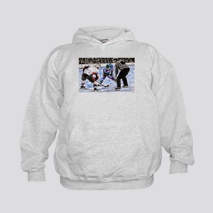 Hocky Players and Referee at Center Ic Kids Hoodie