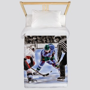 Hocky Players and Referee at Center Ice Twin Duvet