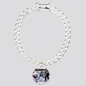 Hocky Players and Refere Charm Bracelet, One Charm