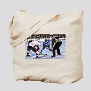 Hocky Players and Referee at Center Ice Tote Bag