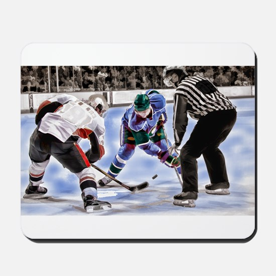 Hocky Players and Referee at Center Ice Mousepad