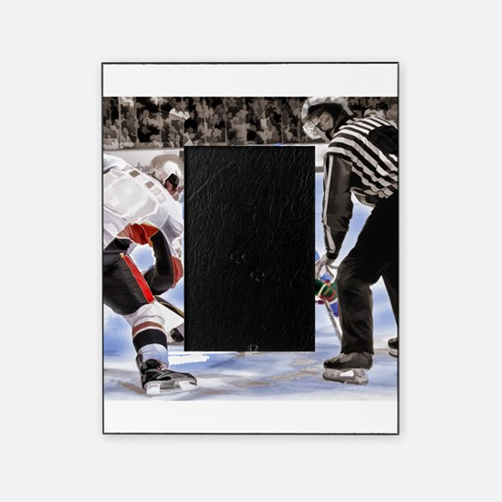 Hocky Players and Referee at Center Picture Frame