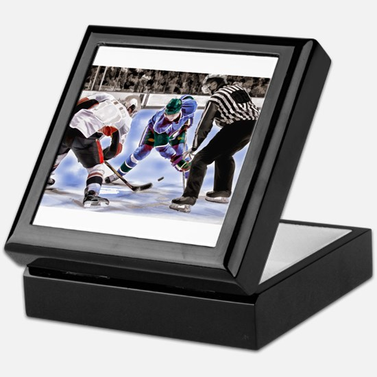 Hocky Players and Referee at Center I Keepsake Box