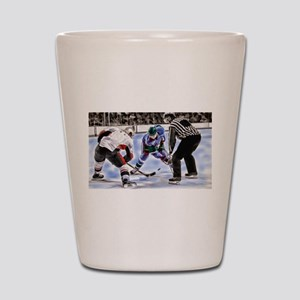 Hocky Players and Referee at Center Ice Shot Glass