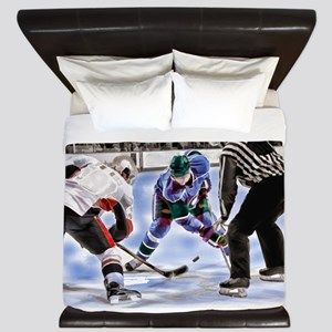 Hocky Players and Referee at Center Ice King Duvet