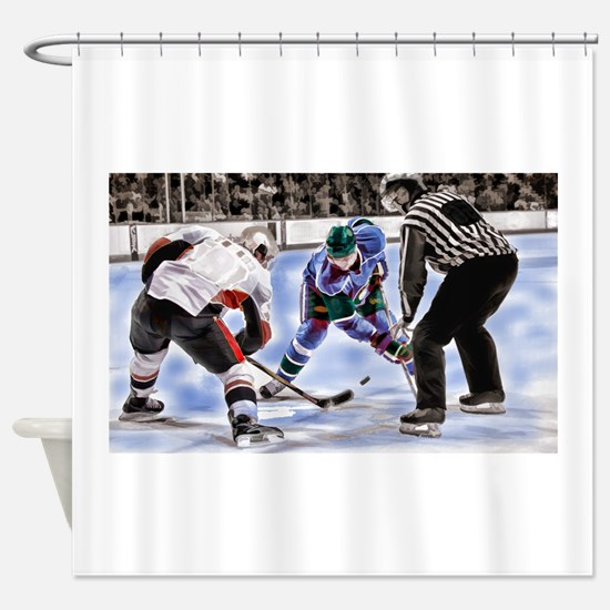 Hocky Players and Referee at Center Shower Curtain