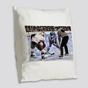 Hocky Players and Referee at C Burlap Throw Pillow