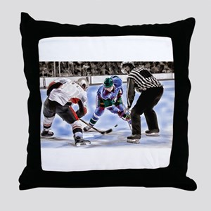 Hocky Players and Referee at Center I Throw Pillow