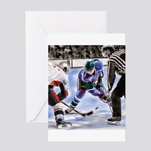 Hocky Players and Referee at Center Greeting Cards