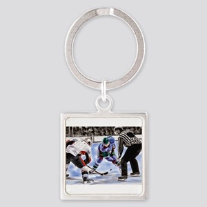 Hocky Players and Referee at Center Ice Keychains