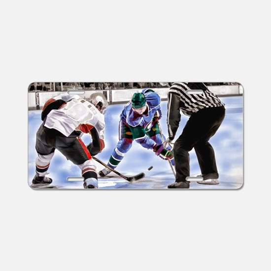 Hocky Players and Referee a Aluminum License Plate