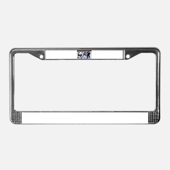 Hocky Players and Referee at C License Plate Frame
