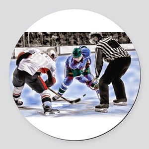 Hocky Players and Referee at Cent Round Car Magnet