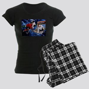 Action at the Hockey Net Women's Dark Pajamas