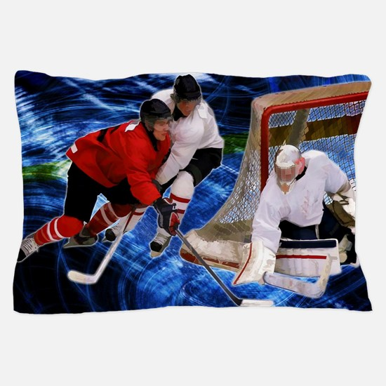 Action at the Hockey Net Pillow Case