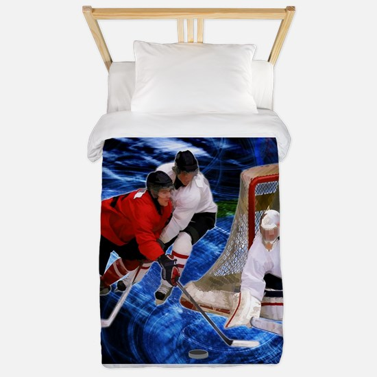 Action at the Hockey Net Twin Duvet