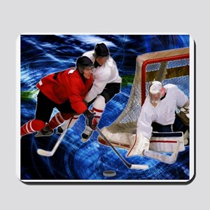 Action at the Hockey Net Mousepad