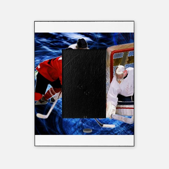 Action at the Hockey Net Picture Frame