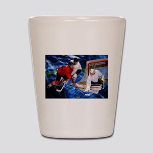 Action at the Hockey Net Shot Glass