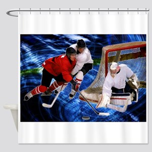 Action at the Hockey Net Shower Curtain