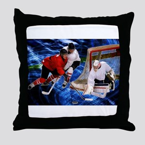 Action at the Hockey Net Throw Pillow