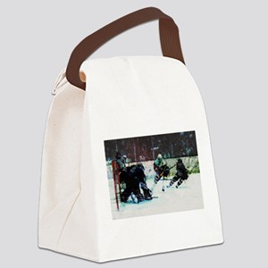 Grunge Hockey Match Canvas Lunch Bag