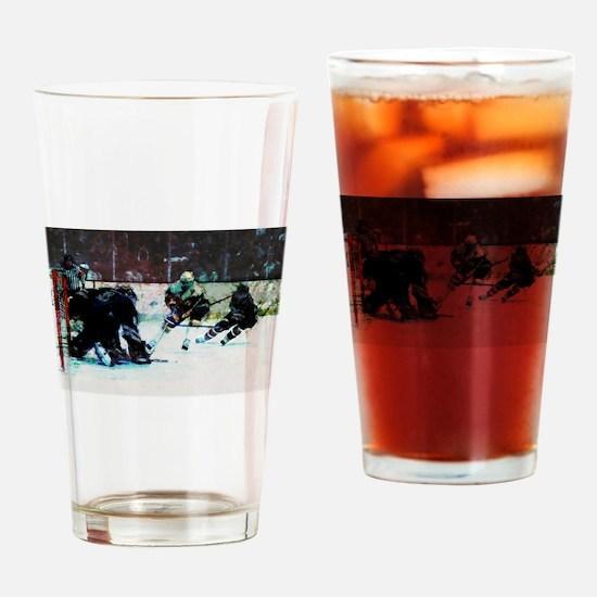 Grunge Hockey Match Drinking Glass