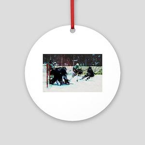 Grunge Hockey Match Round Ornament