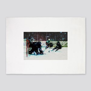 Grunge Hockey Match 5'x7'Area Rug