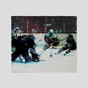 Grunge Hockey Match Throw Blanket