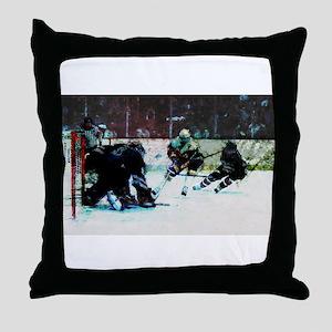 Grunge Hockey Match Throw Pillow