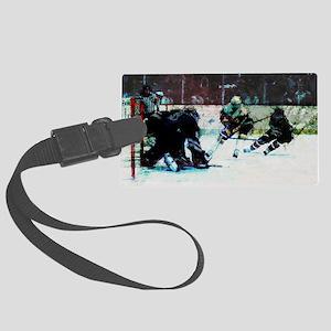 Grunge Hockey Match Large Luggage Tag