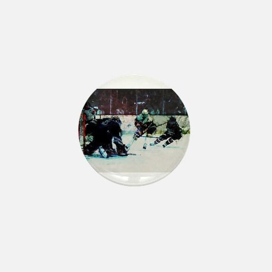 Grunge Hockey Match Mini Button