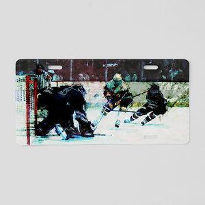 Grunge Hockey Match Aluminum License Plate
