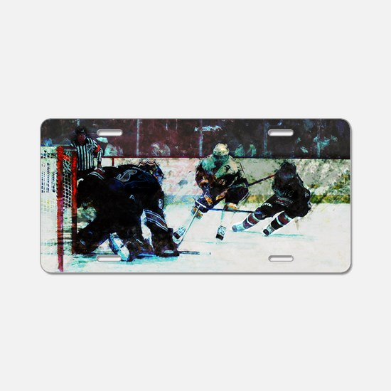 Grunge Hockey Match Aluminum License Plate