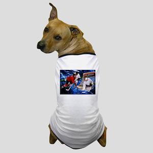 Action at the Hockey Net Dog T-Shirt