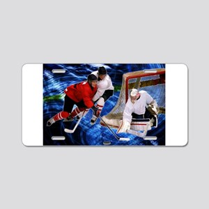 Action at the Hockey Net Aluminum License Plate