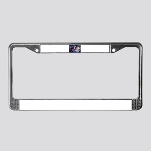Action at the Hockey Net License Plate Frame