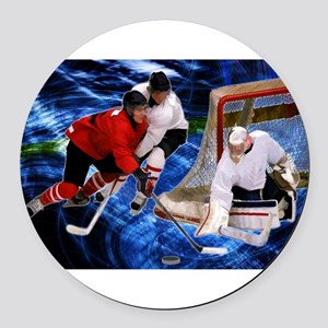 Action at the Hockey Net Round Car Magnet