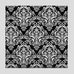 DAMASK1 BLACK MARBLE & WHITE LINEN (R Tile Coaster