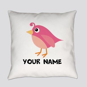 Bird Lover Personalized (Pink) Everyday Pillow