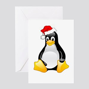 Tux The Christmas Penguin Greeting Greeting Cards