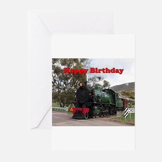 Happy Birthday: steam train engine Greeting Cards