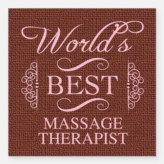 "World's Best Massage The Square Car Magnet 3"" x 3"""