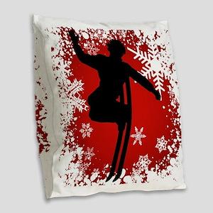 SKI JUMP (RED) Burlap Throw Pillow