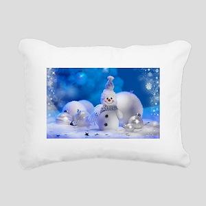 snowman Rectangular Canvas Pillow