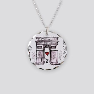Paris with love Necklace Circle Charm