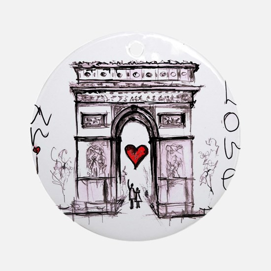 Paris with love Round Ornament