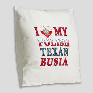 Polish Texan Busia Burlap Throw Pillow