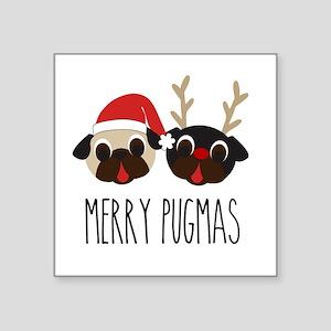 Merry Pugmas Christmas Pug Santa & Reindee Sticker